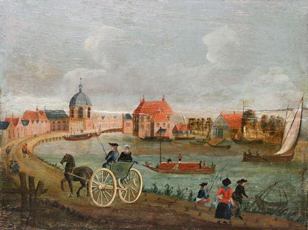 Passeggiata in carrozza, olio su tavola, Scuola del Nord Europa, XVIII sec., cm 32 x 42.