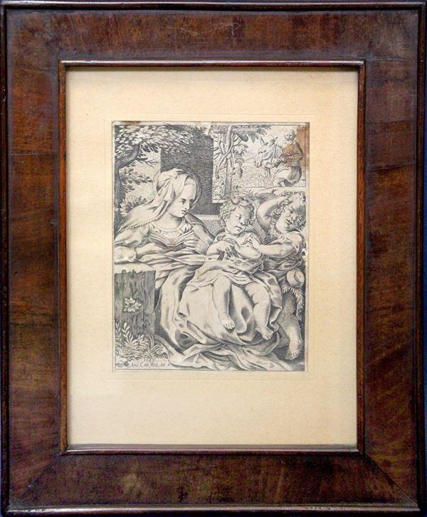 Maternità, incisione datata 1587 e firmata Ani.Car.Bol.In.F., cm 15 x 12, entro cornice.