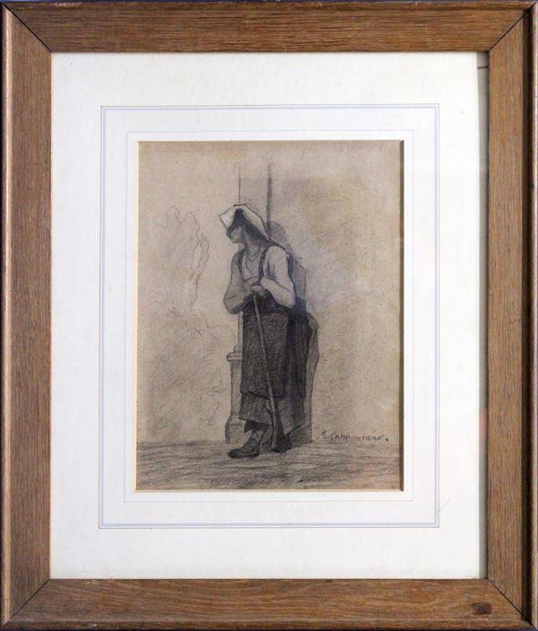 La moglie del brigante, carboncino su carta 29x23 cm, firmato entro cornice.