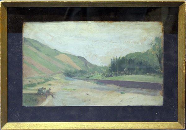 Paesaggio fluviale con pescatori, olio su cartoncino 22x35 cm, firmato entro cornice.