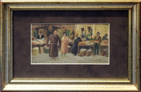 Mercato romano, olio su tavola 11x20 cm, firmato, entro cornice.