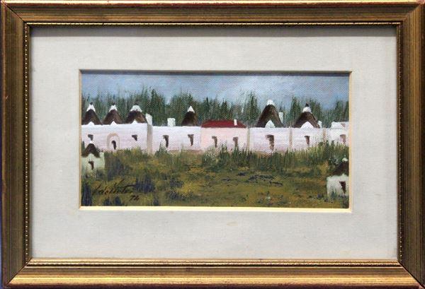 I trulli, olio su cartone telato 10x16 cm, entro cornice.