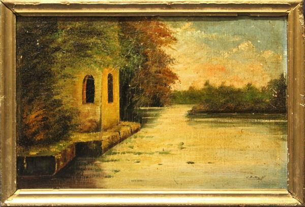 Paesaggio fluviale, olio su tela riportato su cartone 45x29 cm, firmato entro cornice.