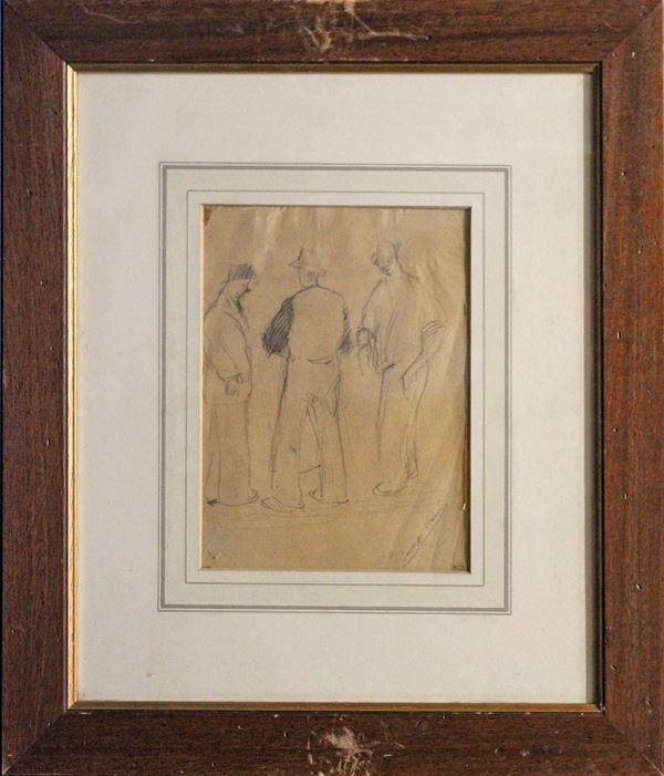Figure, matita su carta 22x17 cm, firmato entro cornice.
