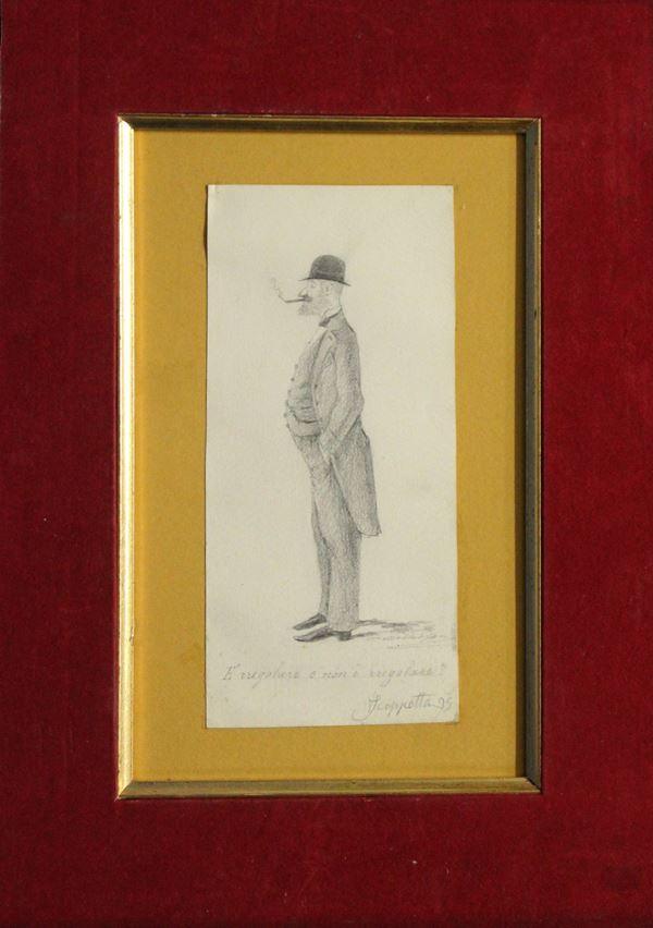 Caricatura, matita su carta 19x9 cm, firmato e datato, entro cornice.