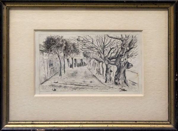 Scorcio di Napoli, china su carta 13x20 cm, firmato, entro cornice.