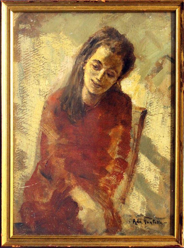 Ritratto di ragazza, olio su cartoncino 30x23 cm, firmato entro cornice.