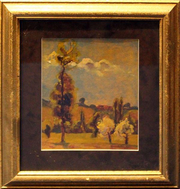 Paesaggio, olio su cartone 26x21 cm, firmato entro cornice.