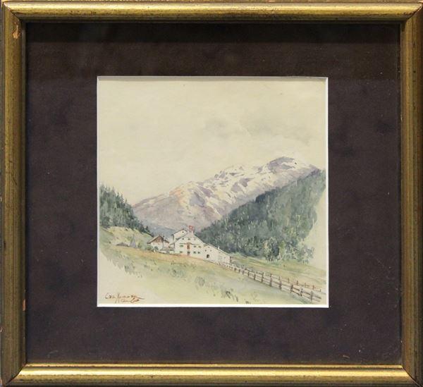 Sulle alpi svizzere, acquarello su carta 18x16 cm, firmato entro cornice.