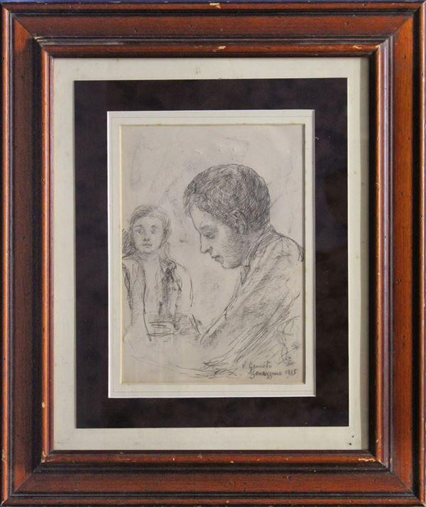 Giovani, matita su carta 28x21 cm, firmato e datato, entro cornice.