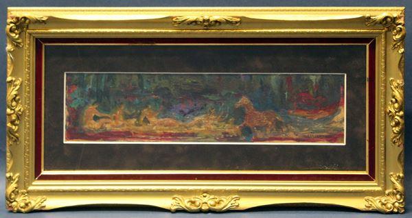 Figure con cavallo, olio su masonite 10x40 cm, firmato, entro cornice.