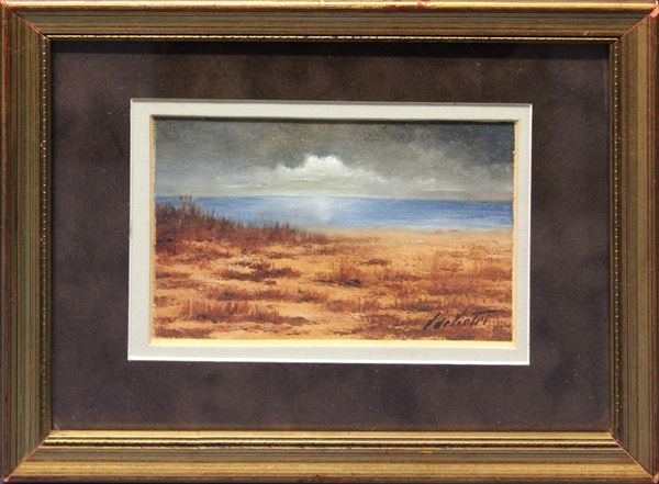 Spiaggia, olio su cartone telato 11x14 cm, firmato entro cornice.