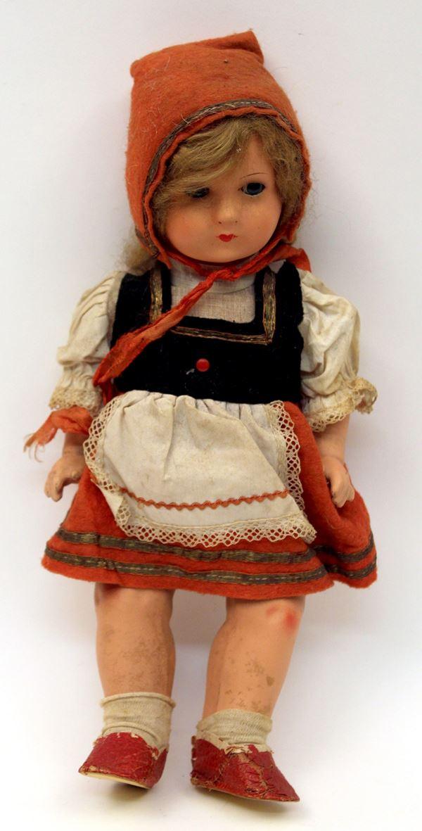 Cappuccetto rosso, bambola, H 34 cm.
