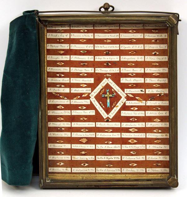 Teca contenente reliquie, primi '900, cm 25 x 21.
