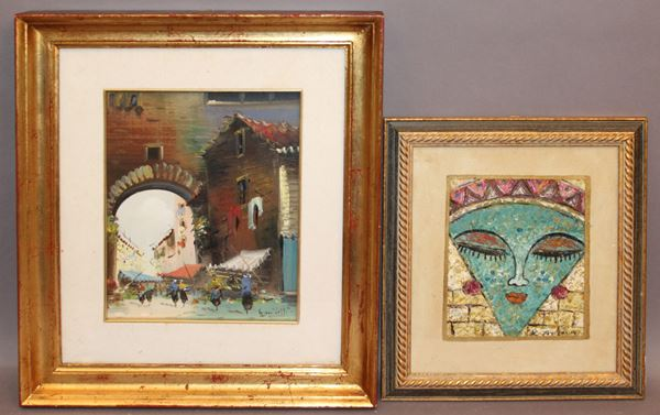 Lotto composto da due dipinti diversi ad olio, cm 28 x 22 e cm 19 x 16, entro cornici.