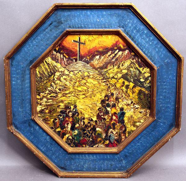 Marco Orsi - Il calvario dell'alpino, olio su tavola ad assetto ottagonale, cm 44 x 44, entro cornice.