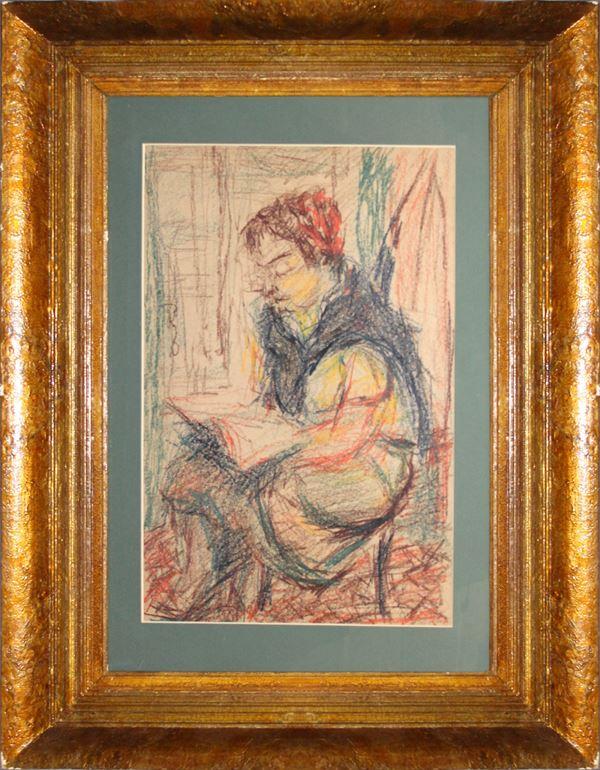 Ritratto di donna in lettura, pastello su carta, cm 48 x 31, entro cornice.