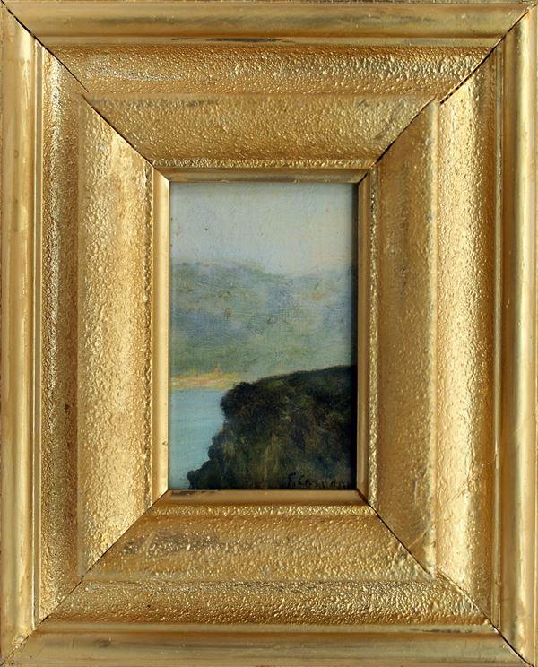 Marina, olio su tela riportato su cartone, 15x10,5 cm, primi 900, entro cornice.