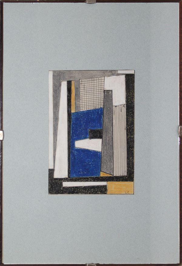 Composizione geometrica, tecnica mista su carta, siglato, cm 16 x 12, entro cornice.
