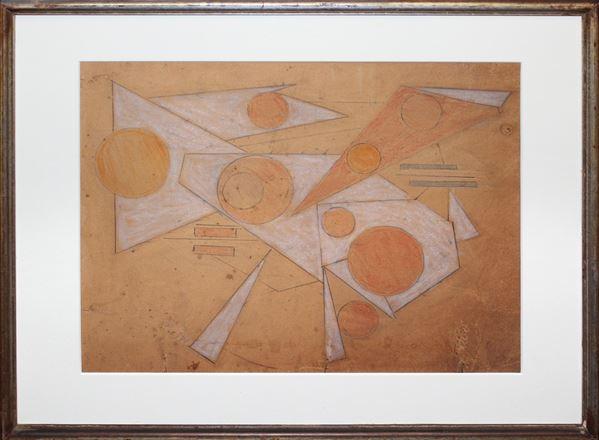 Composizione geometrica, tecnica mista su carta, cm 32 x 24, entro cornice.