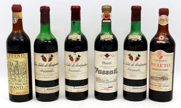 Lotto composto da sei bottiglie di vino diverse.