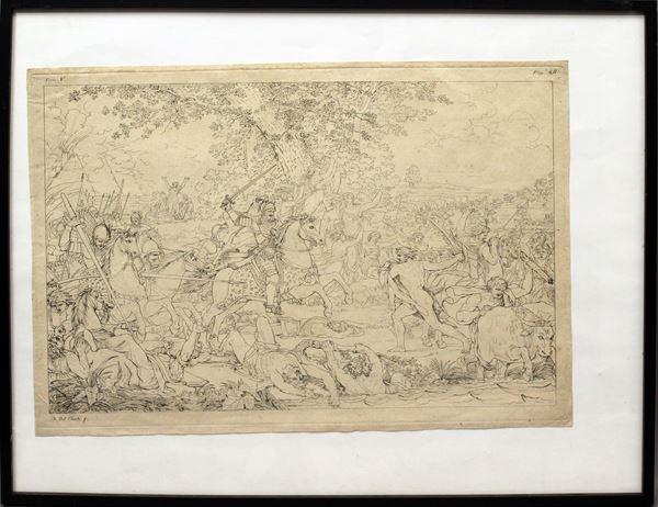 Scena di battaglia, incisione del XIX sec., cm 29 x 41.