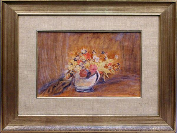 Natura morta, vaso con fiori, acquarello su carta, cm. 22 x 32, firmato entro cornice.