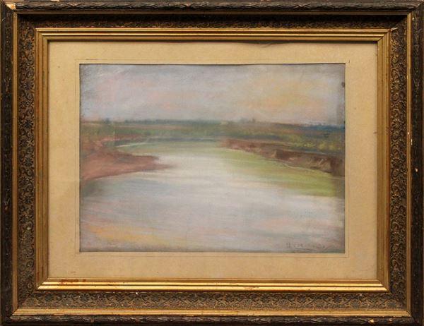 Scorcio del fiume Tevere, pastello su carta, cm 48 x 36, firmato Umberto Coromaldi, entro cornice.