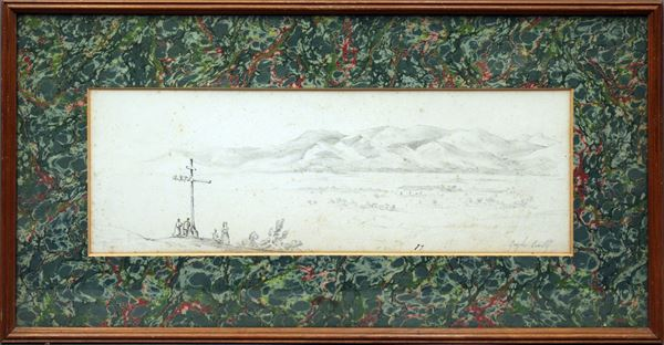 Il pellegrinaggio con veduta di campagna, matita su carta, cm 31 x 62, firmato, entro cornice.