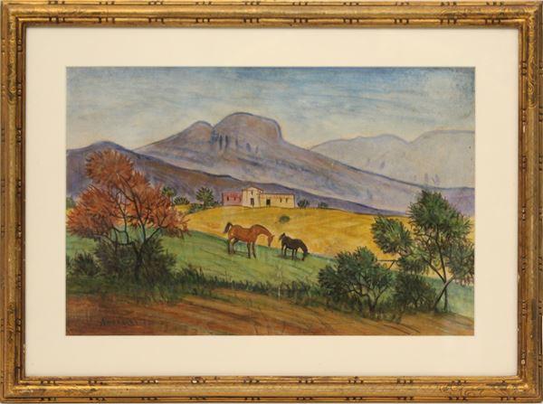 Alfonso Amorelli - Paesaggio con cavalli, tecnica mista su carta cm 26 x 40, entro cornice.