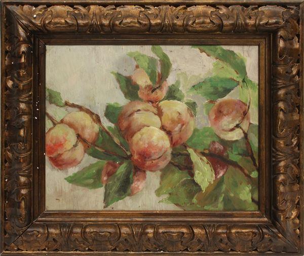 Ramo con frutta, olio su compensato, cm 30 x 37, XX secolo, entro cornice.