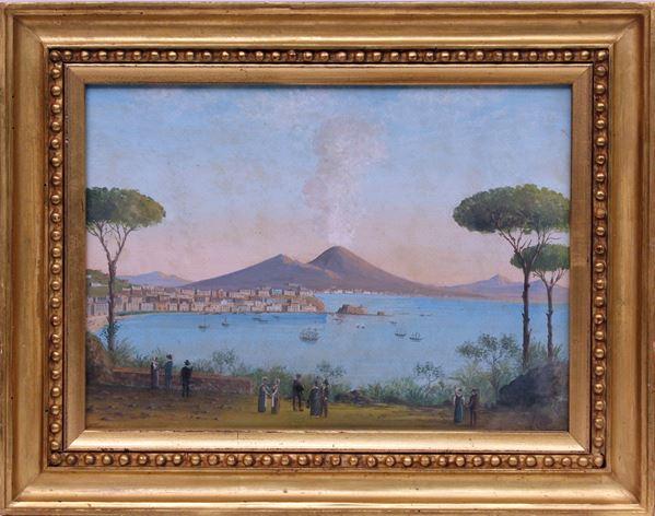 Veduta di Posillipo, acquarello su carta, cm 26 x 37, firmato V. Loria, entro cornice.