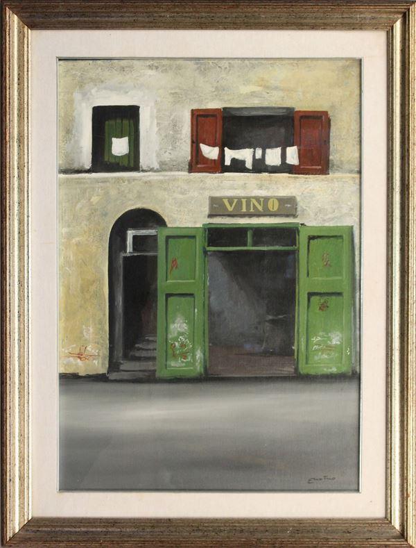 Scorcio di paese, olio su tela, cm 70 x 50, firmato Enotrio.