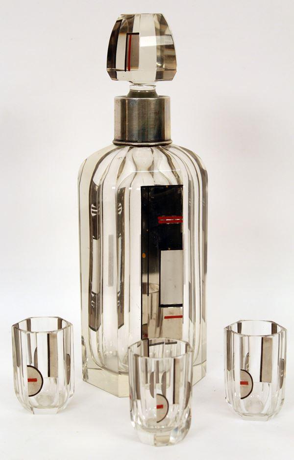 Bottiglia Decò in cristallo, H 26 cm.