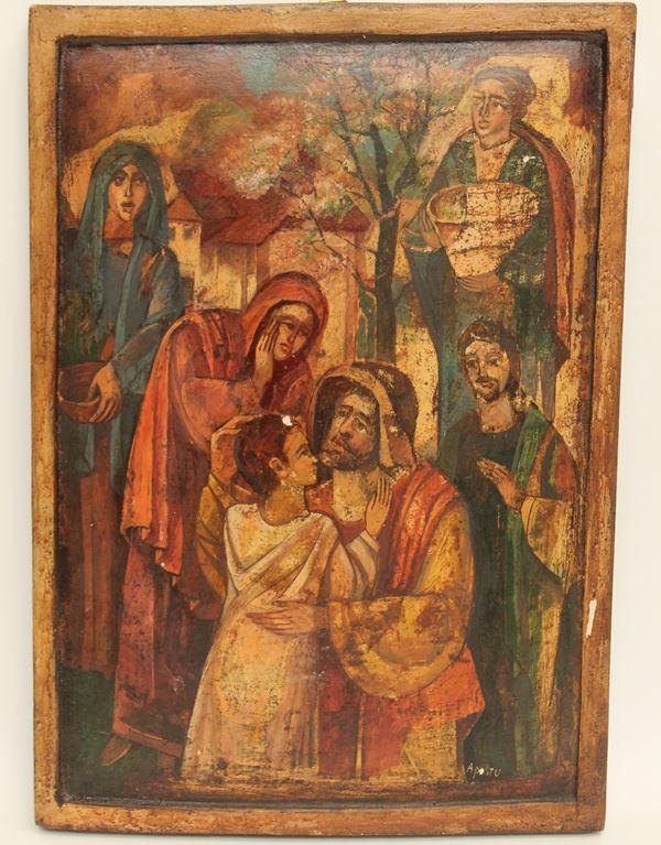Apostu Ghiorghi - Icona a soggetto religioso su tavola, cm 49 x 34.