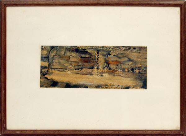 Paesaggio di campagna, olio su cartoncino, cm 11 x 28, entro cornice.