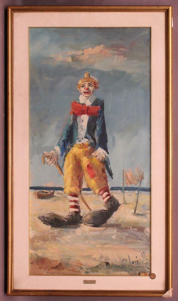 Pagliacci, olio su tela, cm 80 x 100, firmato G. Farinella, entro cornice.