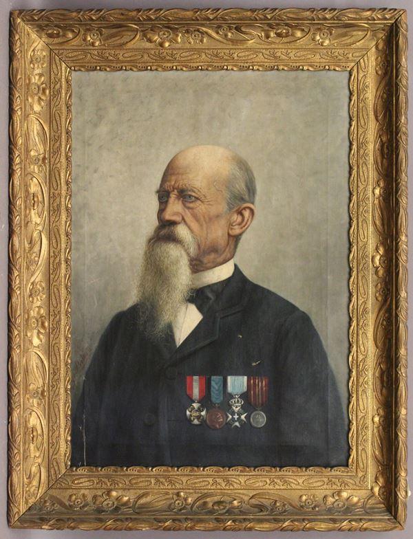 Ritratto di nobiluomo decorato, olio su tela 77x55 cm, firmato G. Beltrone, entro cornice