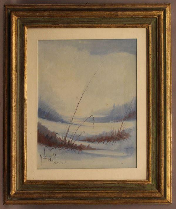 Paesaggio boschivo invernale, olio su tela 48x38 cm, firmato G. Farinella, entro cornice.