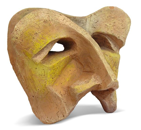 Maschera futurista, terracotta policroma, cm 25x20, monogramma al retro