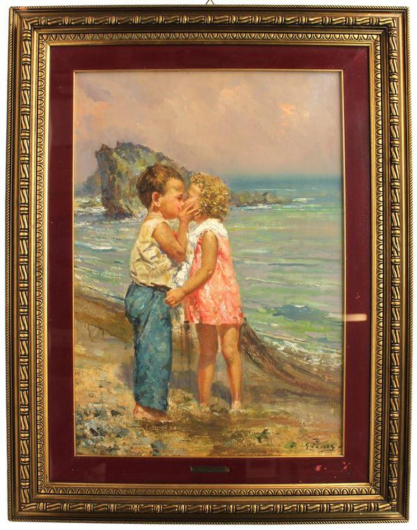 Giovanni Panza - Bambini sulla spiaggia, olio su tela, cm 70x50, entro cornice.