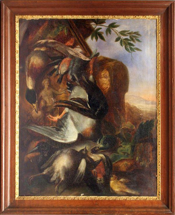 Natura morta con cacciagione, olio su tela, cm 93x74, XIX sec., entro cornice.