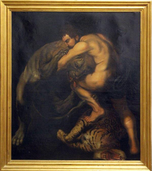 Da Peter Paul Rubens, Ercole e il leone nemeo, olio su tela 122x104 cm, seconda metà del XVIII sec, entro cornice.