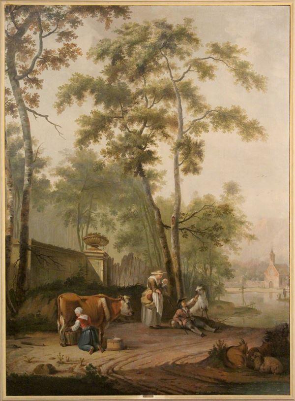 Pieter  III    Pietersz Barbiers - Paesaggio con figure e armenti, olio su tela, cm. 215x167, entro cornice.