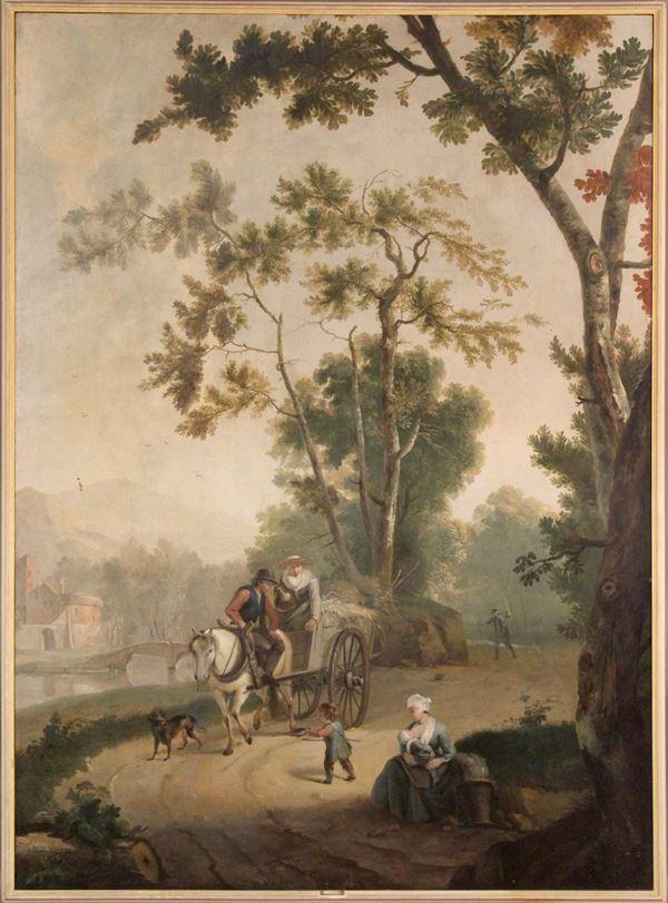 Pieter  III    Pietersz Barbiers - Paesaggio con carretto e figure, olio su tela, cm. 215x167, entro cornice.