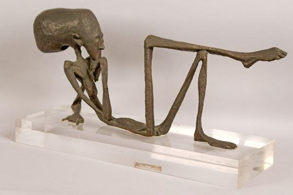 Lucio  Lanzarini - Realtà, scultura in bronzo a cera persa, base in plexiglass, altezza 22 cm, lunghezza 53 cm.