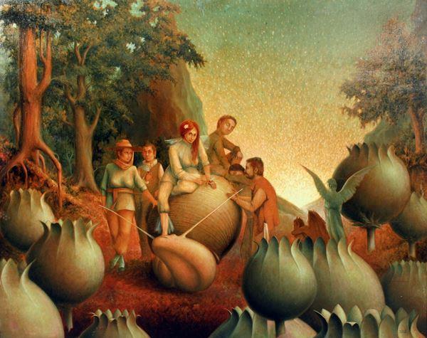 Darko  Toth Bilogorski - Paesaggio surrealista con figure, olio su tela, cm. 127x158.