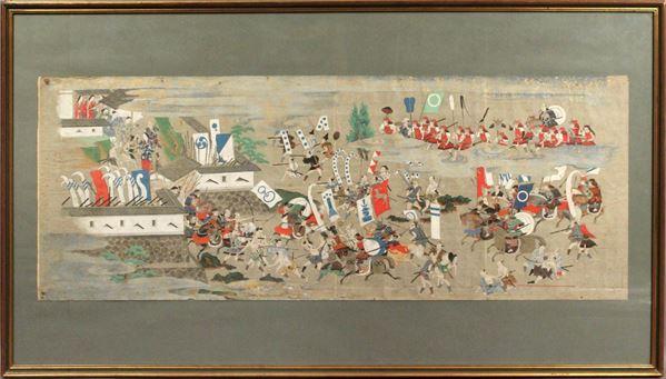 Battaglia tra samurai, tempera su carta, cm. 38,5x101, Giappone XVIII sec, entro cornice.