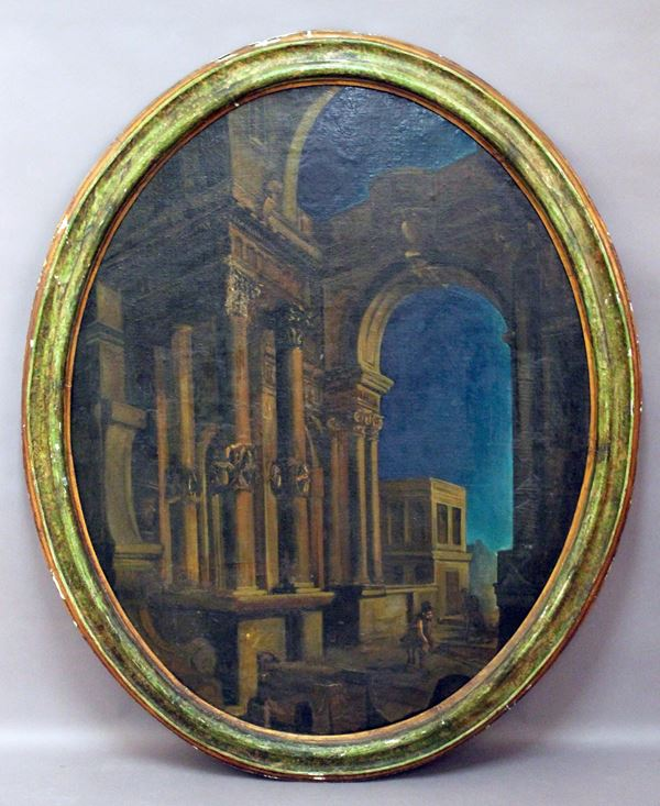 Paesaggio con architetture e figure, olio su tela, cm. 106x85, fine XVIII sec, entro cornice.