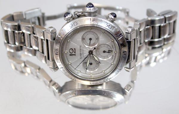Cartier Pasha, orologio da polso, cassa e bracciale in acciaio, quadrante color crema, funzione cronografo a tre contatori, anni '90 circa.